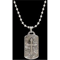Silver Strike Silver Dogtag with Cross Men's Necklace