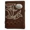3D Brown Western Trifold Wallet