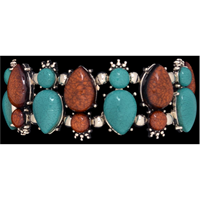 Silver Strike Turquoise & Brown Teardrop Stretch Bracelet