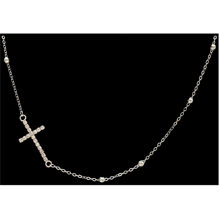 Silver Strike Clear Crystal Cross Necklace