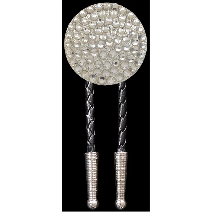 Silver Strike Clear Crystal Bolo Tie