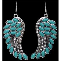 Silver Strike Turquoise Wing Earrings