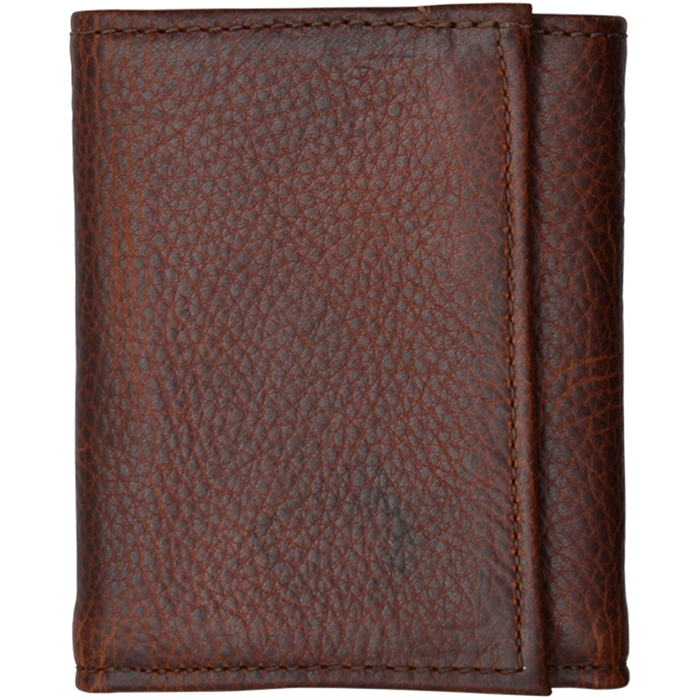 3D Dark Brown Basic Trifold Wallet