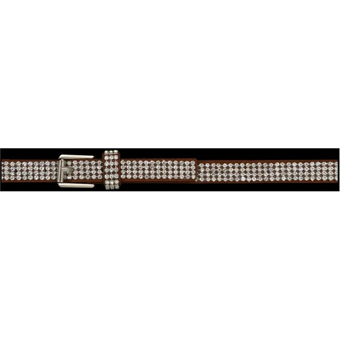 Silver Strike Brown Leather Crystal Boot Bracelet