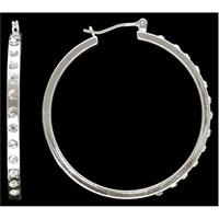 Silver Strike Clear Crystal Hoop Earrings