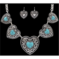 Silver Strike Silver Heart with Turquoise Stone Earring & Necklace Set