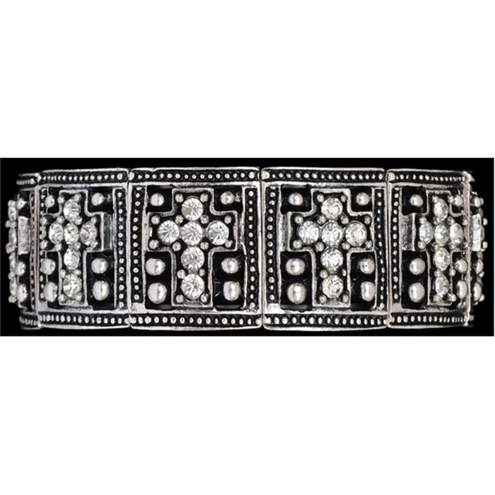 Silver Strike Clear Crystal Cross Bracelet