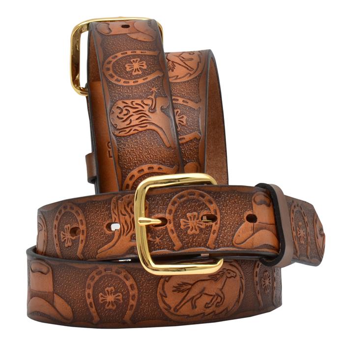 """3D 1 1/4"""" Brown Boys' Western Fashion Belt"""