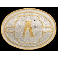 "Silver Strike Oval Initial ""A"" Men's Buckle"