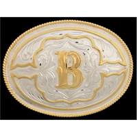 "Silver Strike Oval Initial ""B"" Men's Buckle"