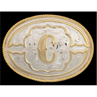 "Silver Strike Oval Initial ""C"" Men's Buckle"