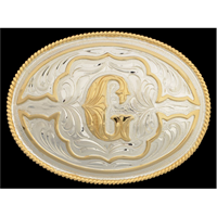 "Silver Strike Oval Initial ""G"" Men's Buckle"