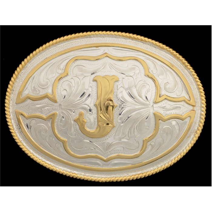 "Silver Strike Oval Initial ""J"" Men's Buckle"