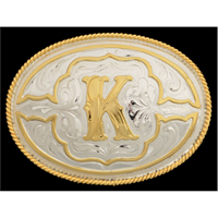 "Silver Strike Oval Initial ""K"" Men's Buckle"