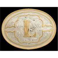 "Silver Strike Oval Initial ""L"" Men's Buckle"