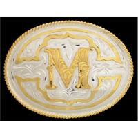 "Silver Strike Oval Initial ""M"" Men's Buckle"