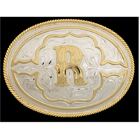 "Silver Strike Oval Initial ""R"" Men's Buckle"