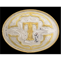 "Silver Strike Oval Initial ""T"" Men's Buckle"