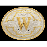 "Silver Strike Oval Initial ""W"" Men's Buckle"