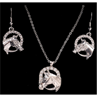 Silver Strike Crystal Horse Head Earring & Necklace Set