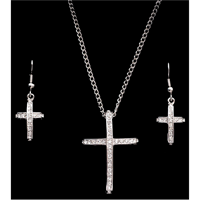Silver Strike Crystal Cross Earring & Necklace Set