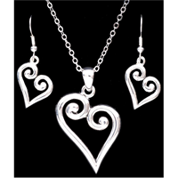 Silver Strike Heart Earring & Necklace Set