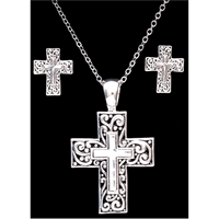 Silver Strike Cross Earring & Necklace Set