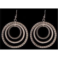 Silver Strike Tri-Hoop Dangling Earrings