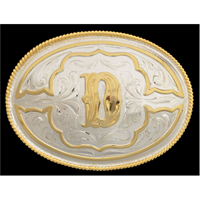 "Silver Strike Oval Initial ""D"" Men's Buckle"