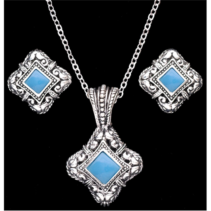 Silver Strike Turquoise Earring & Necklace Set