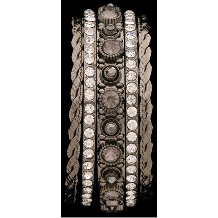 Silver Strike Crystal Bangle Bracelet Set