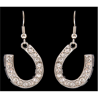 Silver Strike Clear Crystal Horseshoe Earrings
