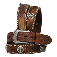 "3D 1 1/2"" Military Brown Men's Western Fashion Belt"