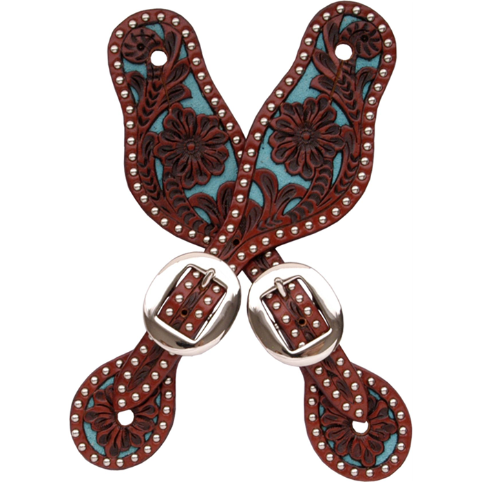 3D Tan & Turquoise Small Spur Straps