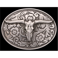 Silver Strike Longhorn Skull Men's Buckle