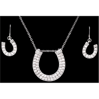 Silver Strike Crystal Horseshoe Earring & Necklace Set