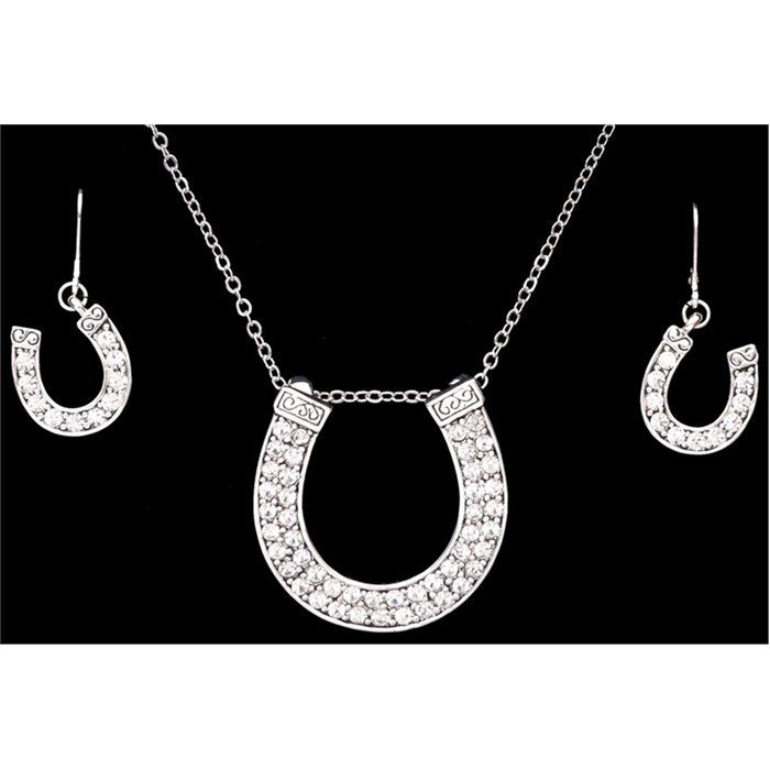 8fb40eeaa Silver Strike Crystal Horseshoe Earring & Necklace Set - EN1090 - 3D Belt