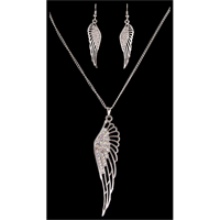Silver Strike Crystal Angel Wing Earring & Necklace Set