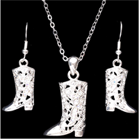 Silver Strike Boot Earring & Necklace Set
