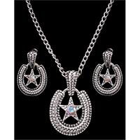 Silver Strike Horseshoe Earring & Necklace Set