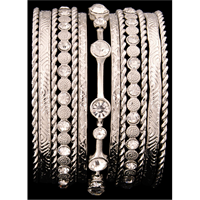 Silver Strike Silver & Clear Crystal Bangle Bracelet Set