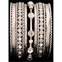 Silver Strike Silver & Clear Crystal Bangle Bracelet Set