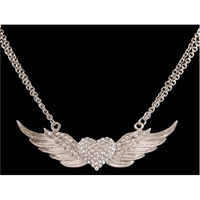 Silver Strike Angel Wing Heart Necklace