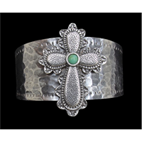 LoulaBelle Silver and Turquoise Cross Bracelet