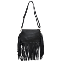 Angel Ranch Black Fringe Purse