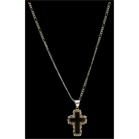 Silver Strike Black Cross Necklace