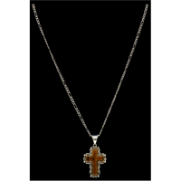 Silver Strike Tiger Eye Brown Cross Necklace