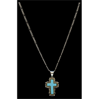 Silver Strike Turquoise Cross Necklace
