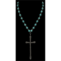 Silver Strike Beaded Cross Necklace