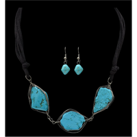 Silver Strike Turquoise Stone Earring & Necklace Set